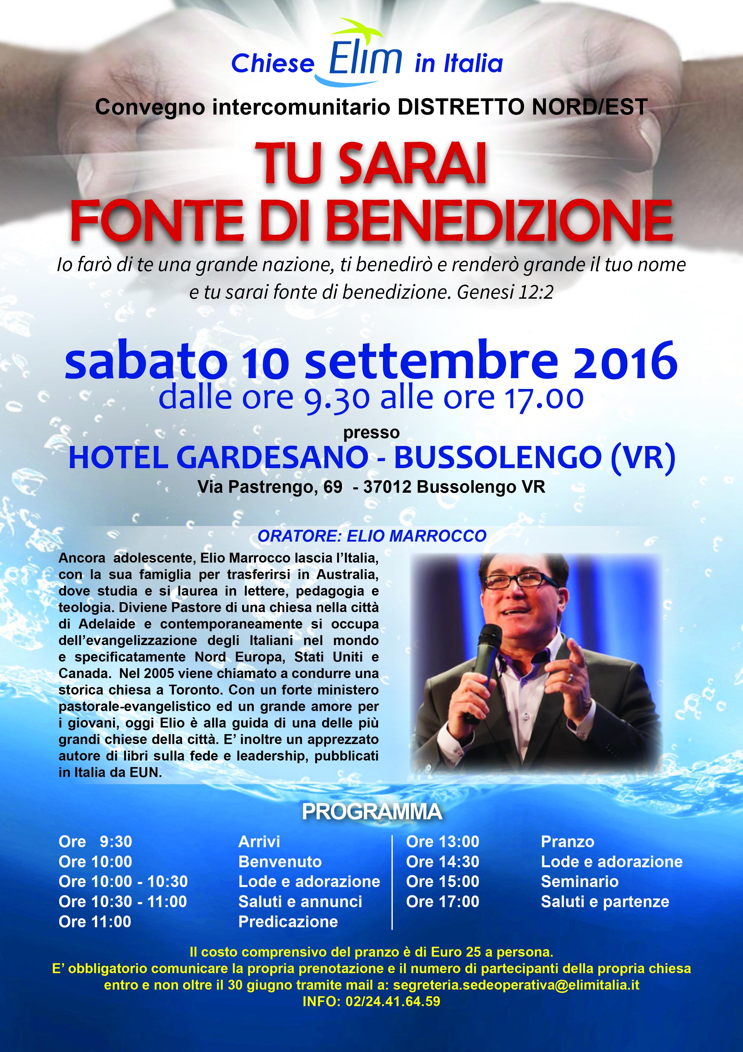 Convegno Intercomunitario del Distretto Nord-Est – 10 settembre 2016, Bussolengo (VR)