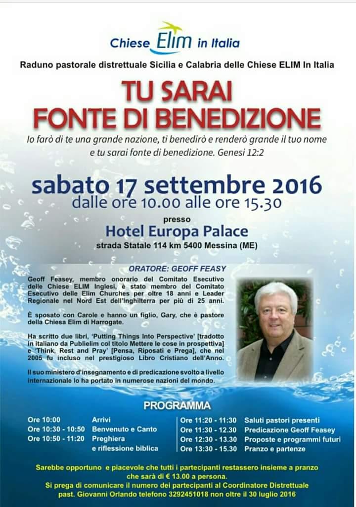 Convegno Intercomunitario del Distretto Sicilia-Calabria – 17 settembre 2016, Messina