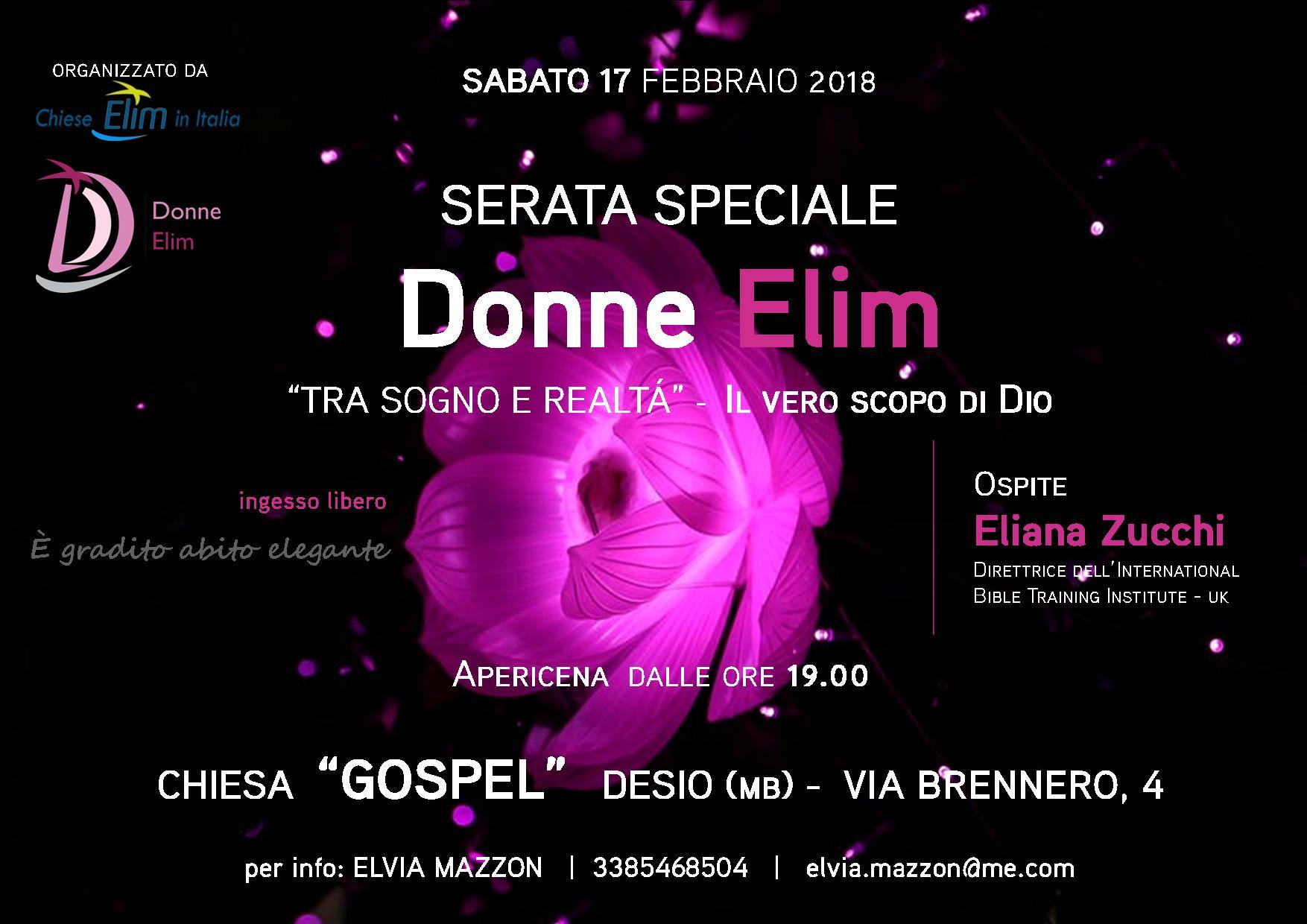 Serata speciale Donne Elim: 'Tra sogno e realtà – Il vero scopo di Dio' con Eliana Zucchi – Sabato 17 febbraio 2018, Desio (MB)