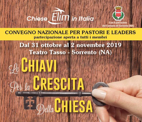 Prossimo Convegno per pastori e leaders – 31 ottobre-2 novembre 2019