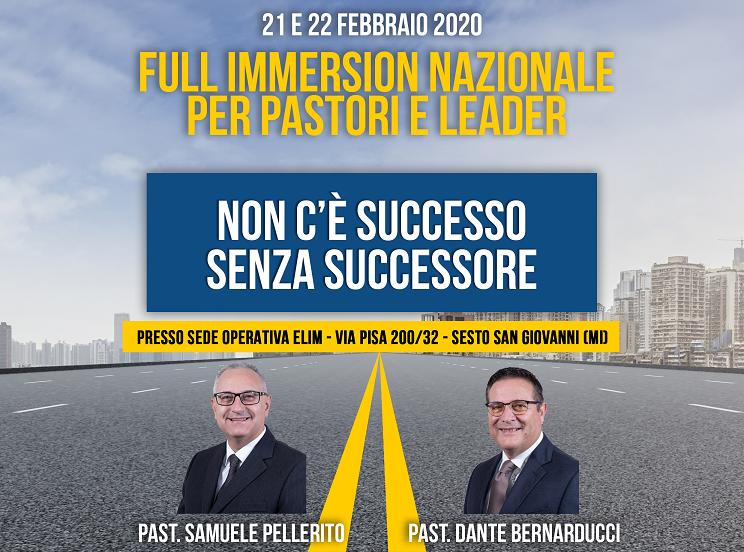 'NON C'E' SUCCESSO SENZA SUCCESSORE' – Full-immersion nazionale per pastori e leaders – 21-22 febbraio 2020
